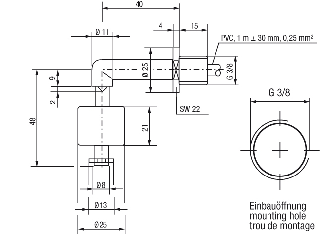Miniature Float Switch Technical Drawing