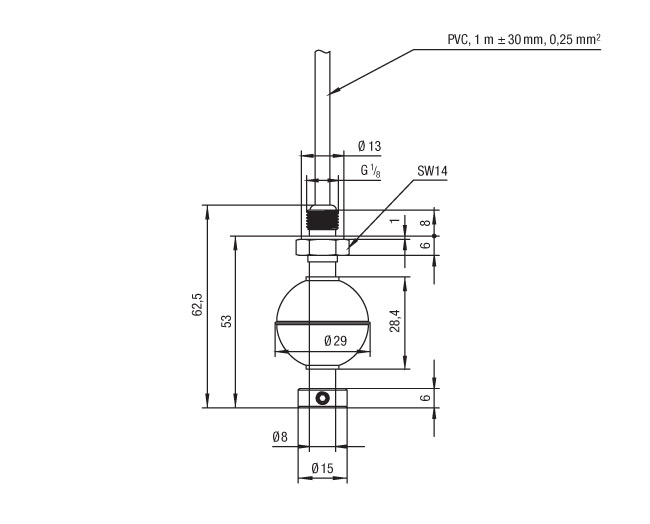 20341103 Series Miniature Float Switch Technical Drawing