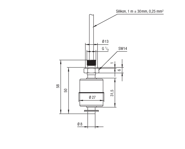 20341109 Series Miniature Float Switch Technical Drawing