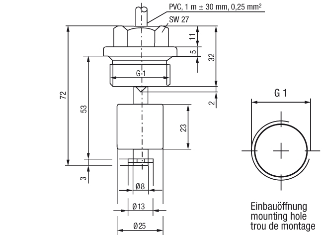 204B Series Miniature Float Switch Technical Drawing